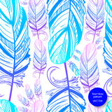 Abstract seamless pattern with feather. Fashion illustration. Vector Vector Illustration