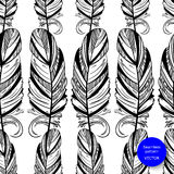Abstract seamless pattern with feather. Fashion illustration. Vector Stock Photography