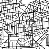 Abstract seamless pattern of a fictional city map. Wallpaper background of a fictional city map, black streets on white background, inspired by real city maps Stock Images