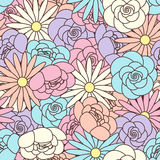 Abstract Seamless pattern with floral background Stock Photos