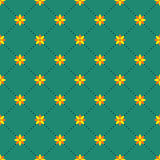 Abstract seamless pattern with floral elements. Small flowers and dots on a green background. Background for card, invitation, wrapping paper or textile Stock Photos