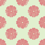 Abstract seamless pattern with floral mandalas in grunge style with scratches, vector illustration Stock Photos