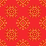 Abstract seamless pattern with floral ornament. Mandala background. Head of flower in thin line style. Vector illustration stock illustration