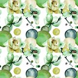 Abstract seamless pattern with flowers. Watercolor illustration Stock Image