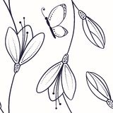 Abstract seamless pattern with flowers and butterfly in sketch style Stock Photo