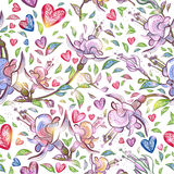 Abstract seamless pattern with flowers and hearts. Vector illustration, EPS10. Abstract seamless pattern with flowers and hearts. Vector illustration, EPS 10 Royalty Free Stock Image
