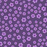 Abstract seamless pattern of flowers on a purple background. For prints, cards, invitations, birthday, holidays, party, celebratio. N, wedding, Valentine's day Stock Images