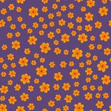 Abstract seamless pattern of flowers on a purple background. For prints, cards, invitations, birthday, holidays, party, celebratio. N, wedding, Valentine's day Royalty Free Stock Photos