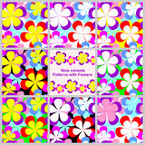 Abstract seamless Pattern with Flowers -  set. Abstract seamless Pattern with Flowers - set of nine variants Stock Image