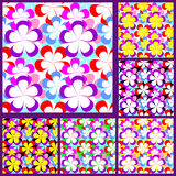 Abstract seamless Pattern with Flowers - set of si Stock Photography