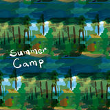 Abstract seamless pattern with forest summer camp Royalty Free Stock Photos