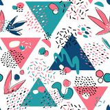 Abstract seamless pattern with geometric elements, triangles, different lines, dots and shapes. Vector Hand-drawn illustration in Pink and Blue colors royalty free illustration