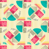 Abstract seamless pattern with geometric figures on beige background. Geometric composition for print on the paper or Stock Photography