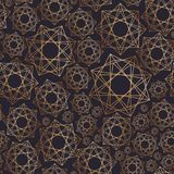 Abstract seamless pattern with geometric shapes drawn with golden contour lines on black background. Geometrical vector illustration