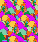 Abstract seamless pattern with geometrical shapes. In bright colors Stock Images