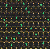 Abstract seamless pattern  gold and dark gray1d43. Abstract hipster pattern with triangles in bright blue gold and dark gray Royalty Free Stock Images