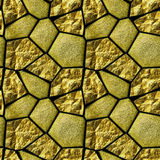 Abstract seamless pattern of gold grained stones and glowing crystals. Cracked polygonal stones with gold ore Stock Images