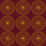Abstract seamless pattern with gold rounds. Dark red background. Pattern mandala Royalty Free Stock Photos