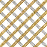 Abstract seamless pattern of gold silver cage. Seamless golden silver background of diagonal stripes, lines or strokes, hand drawn vector pattern for Stock Photo