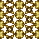 Abstract seamless pattern of gold stars and round plates. Shiny metal background of stars and circular geometric shapes Stock Images