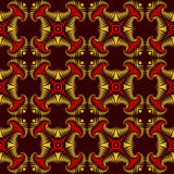 Abstract seamless pattern with golden and red decorative ornament on dark red background Royalty Free Stock Photos