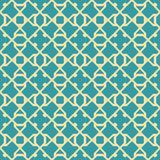 Abstract seamless pattern of graceful lattice. Abstract seamless pattern in blue and yellow colors. Intersecting geometric shapes forming lattice Royalty Free Stock Photography