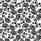 Abstract seamless pattern with graphyc elements, modern abstract shapes. Monochrome black and white ornate. Geometric wallpaper. Abstract seamless pattern with stock illustration