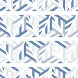 Abstract seamless pattern of gray and blue lines and triangles. Stock Photos