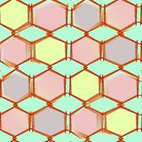 Abstract seamless pattern on green background colored shapes with corners Royalty Free Stock Images