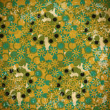 Abstract seamless pattern of green and blue flowers on a faded Royalty Free Stock Photography