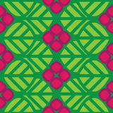 Abstract  seamless pattern green leaves and pink f. Lowers Stock Photo