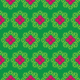Abstract  seamless pattern green leaves and pink f. Lowers Stock Image