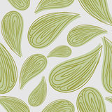 Abstract seamless pattern green leaves. Vector background of fol. Iage. Retro fabric ornament for leaf stock illustration