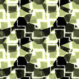 Abstract seamless pattern of green, white and black geometric shapes Stock Image