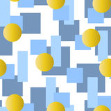 Abstract  seamless pattern with grey and blue rectangles and golden circles on white background Stock Photography