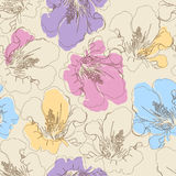 Abstract seamless pattern with hand drawing isolated flowers. Royalty Free Stock Photo