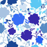 Abstract seamless pattern with hand drawn  blue flowers Royalty Free Stock Images