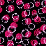 Abstract seamless pattern of hand drawn colored doodle circles on black background. Creative illustration for textile