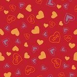 Valentines seamless-19. Abstract seamless pattern with hand drawn hearts. Valentines Day illustration. Design for wallpaper, wrapping paper home textile and Stock Photos