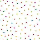 Abstract seamless pattern with hand drawn polka dot. Ornamental multicolor white background. Spot wallpaper design Royalty Free Stock Images