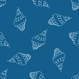 Abstract seamless pattern with hand drawn seashells. Background for textile, wrapping paper or print Royalty Free Stock Image