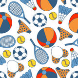 Abstract seamless pattern with hand drawn summer elements Stock Photo