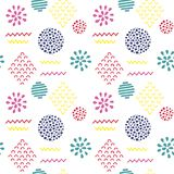 Abstract seamless pattern. Hand drawn textures  on white background. Memphis style Vector Illustration
