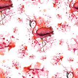 Abstract seamless pattern. hand drawn watercolor background. Vector illustration. Flamingo, splashes and stains isolated on white royalty free illustration