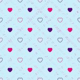 Abstract seamless pattern with hearts. Valetines day, birthday o. R girlish design stock illustration