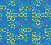 Abstract seamless pattern of hexagons and triangles. Illusion of the depth of the image Stock Photos