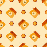 Abstract seamless pattern with honey and bee. Flat vector background Royalty Free Stock Image