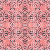 Abstract seamless pattern illustration of lacy leaves, florals and swirls in geometric layout. stock illustration