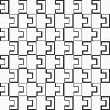 Abstract seamless pattern of interlocking shapes. Modern stylish texture. Connecting geometric tiles. Vector monochrome background vector illustration