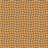 Abstract seamless pattern of intertwining wavy stripes. Winding checkered print. Visual illusion of hilly surface. Orange and brown colors. Vector illustration stock illustration